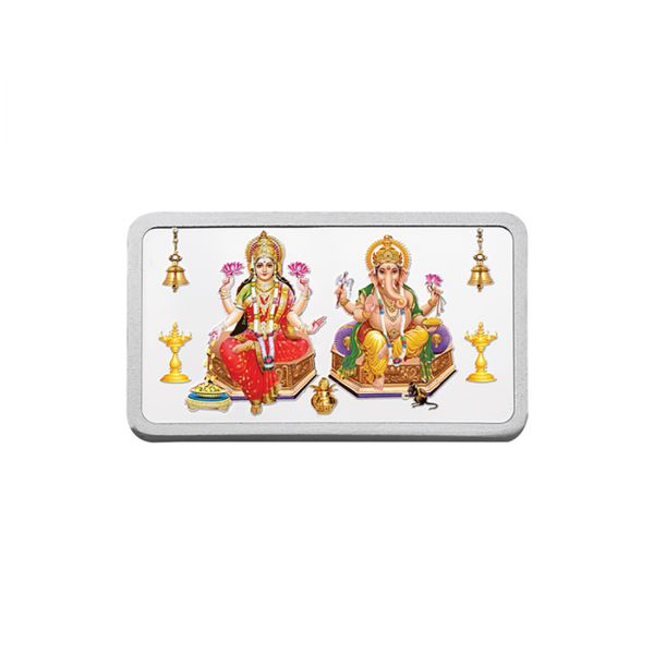 10g Silver Colour Bar (999.9) - Lakshmi Ganesha