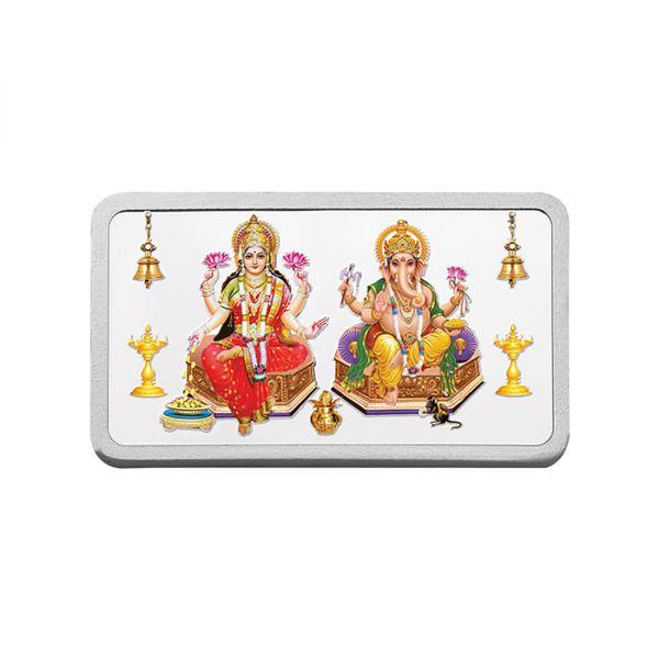 20g Silver Colour Bar (999.9) - Lakshmi Ganesha