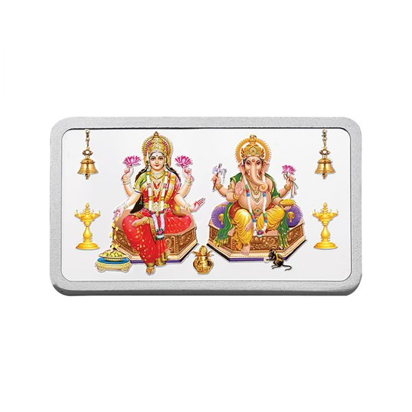 50g Silver Colour Bar (999.9) - Lakshmi Ganesha